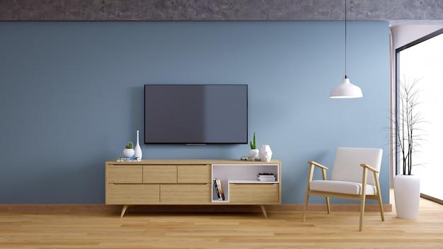 Armário de tv, interior design de sala vintage e estilo de vida acolhedor