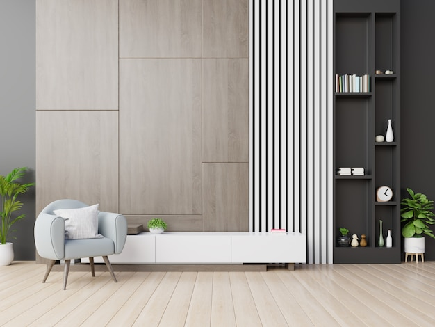 Armário de tv na moderna sala de estar com poltrona na parede de madeira.