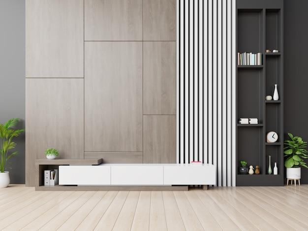Armário de tv na moderna sala vazia com fundo de parede de madeira.