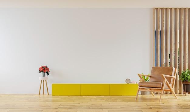 Armário de tv na parede branca da sala de estar com poltrona e design de cozinha nos fundos, renderização em 3d