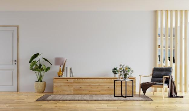 Armário de tv na parede branca da sala de estar com poltrona, projeto da cozinha, renderização em 3d