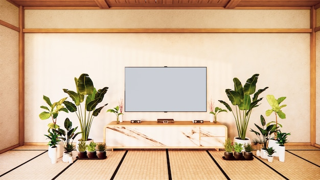 Armário de tv na sala de estar japonesa na parede branca, renderização em 3d