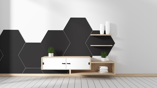 Armário de tv no quarto hexágono preto telha projetos mínimos, estilo zen. renderização em 3d