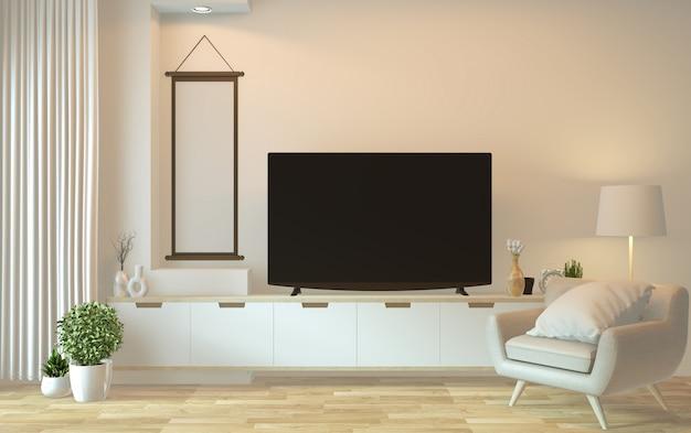 Armário de tv no quarto vazio moderno - estilo zen japonês, design minimalista. renderização 3d