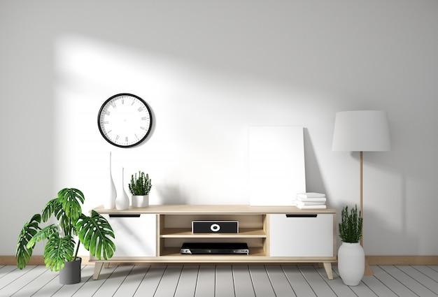 Armário de tv no quarto vazio moderno japonês - estilo zen