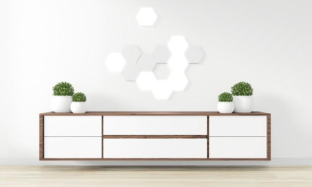 Armário design de madeira na moderna sala vazia japonês - estilo zen, design minimalista. renderização em 3d