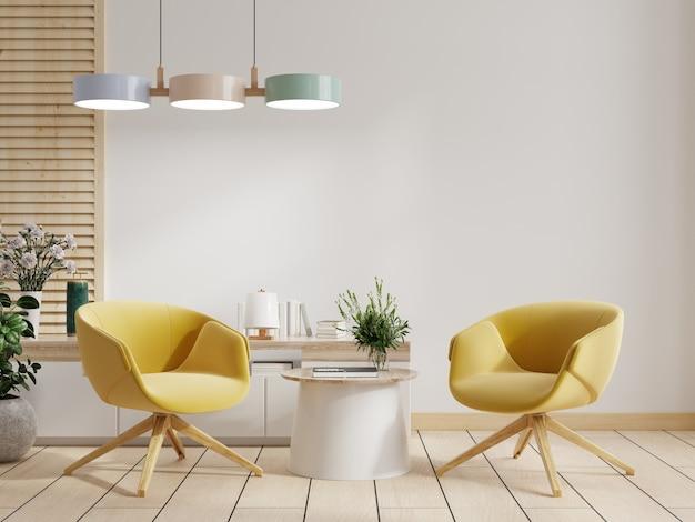 Armário e parede na sala de estar com duas poltronas amarelas, parede branca, renderização em 3d