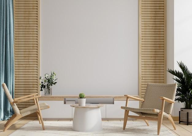 Armário e parede para tv na sala de estar com duas poltronas, parede branca, renderização em 3d