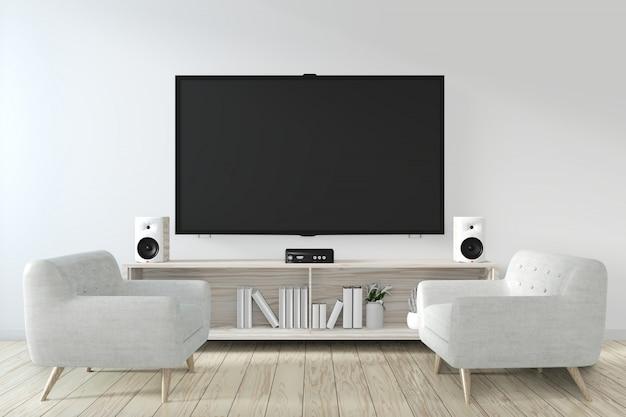 Armário e tv inteligente na parede com decoração estilo zen japonês style.3d rendering