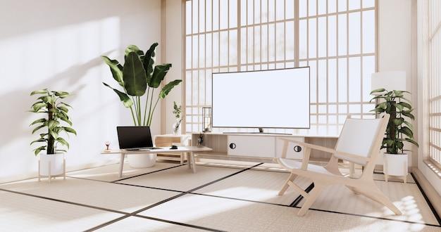 Armário na sala de estar com piso de tatame e sofá poltrona design. renderização 3d