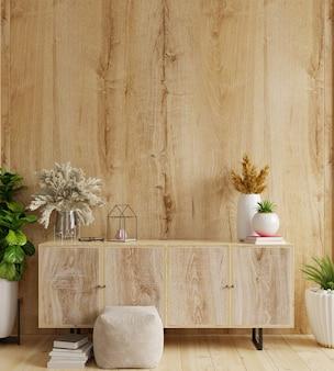 Armário na sala de estar moderna com decoração no fundo da parede de madeira, renderização em 3d