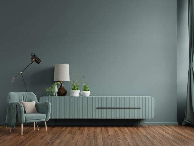 Armário na sala de estar moderna com poltrona, abajur, mesa, flores e plantas no fundo da parede verde, renderização em 3d