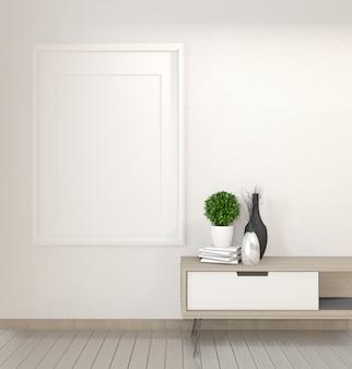 Armário na sala de visitas do zen na parede branca, rendição 3d