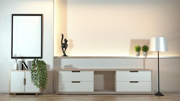 Armário na sala de visitas moderna do zen com estilo do zen da decoração na luz escondida do projeto branco da parede.