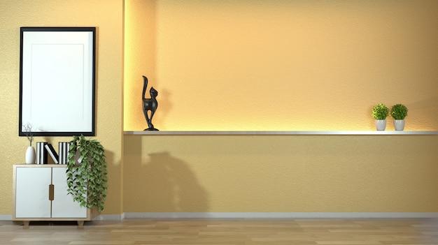 Armário na sala de visitas moderna do zen com estilo do zen do decoraion na luz escondida do projeto amarelo da parede.