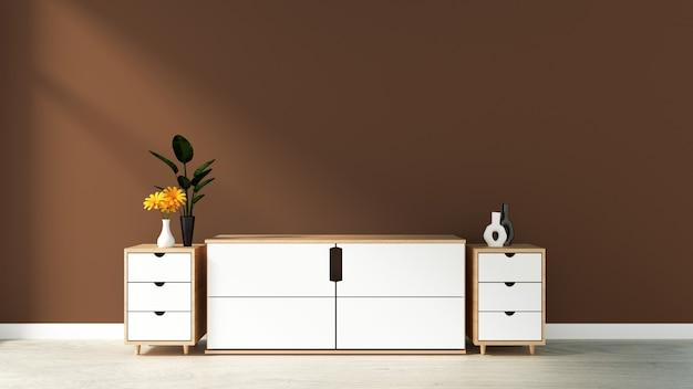 Armário na sala vazia moderna, parede azul marrom no assoalho de madeira, rendição 3d