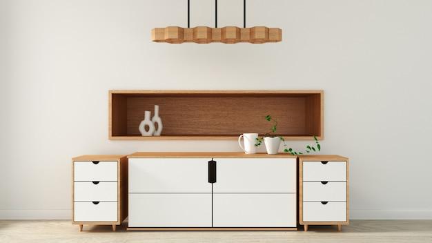 Armário no quarto vazio moderno estilo japonês, projetos mínimos. renderização 3d