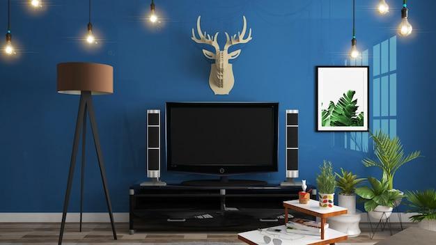 Armário no quarto vazio moderno, parede azul escuro no assoalho de madeira, 3d renderin