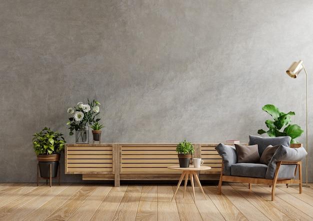 Armário para tv em uma sala de estar moderna com poltrona, abajur, mesa, flores e plantas no fundo da parede de concreto, renderização em 3d