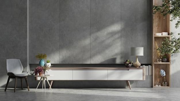 Armário para tv na sala de cimento com parede de concreto. renderização 3d