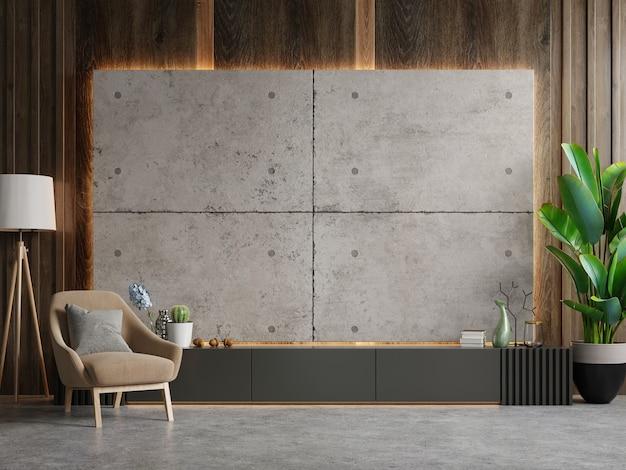Armário para tv na sala de estar moderna com poltrona marrom na parede de concreto, renderização em 3d