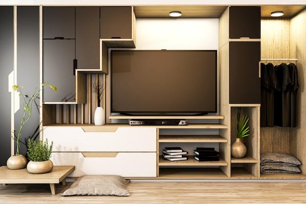 Armário tv mix guarda-roupa prateleira de madeira estilo japonês e decoração de plantas na prateleira. renderização 3d