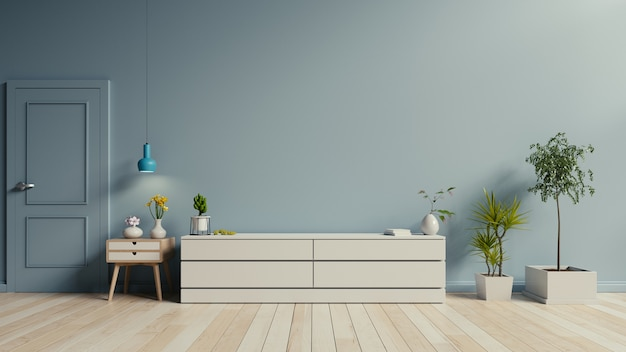 Armário tv no chão de madeira na moderna sala de estar
