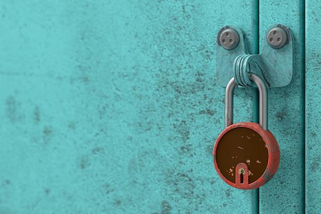 Armários azuis e chaves vermelhas velhas e sujas e cópia espaço para seu texto