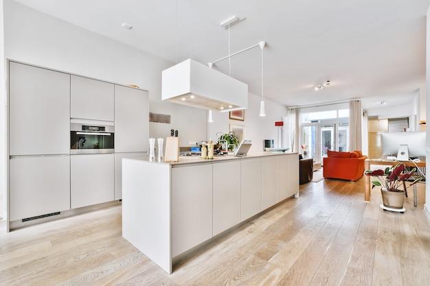 Armários de cozinha contemporâneos brancos com eletrodomésticos embutidos e exaustor pendurado em casa espaçosa