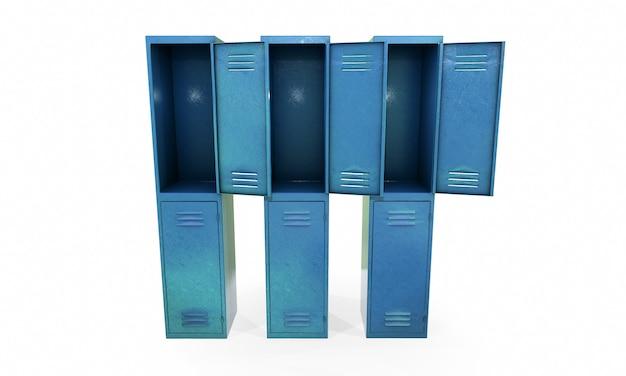 Armários de ginástica de metal com uma porta aberta. ilustração de renderização 3d isolada no fundo branco