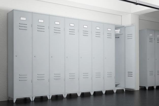 Armários de metal cinza no vestiário closeup extrema. renderização 3d.