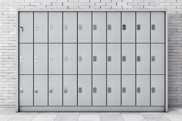 Armários de segurança de metal para bagagem em frente a parede de tijolos. renderização 3d