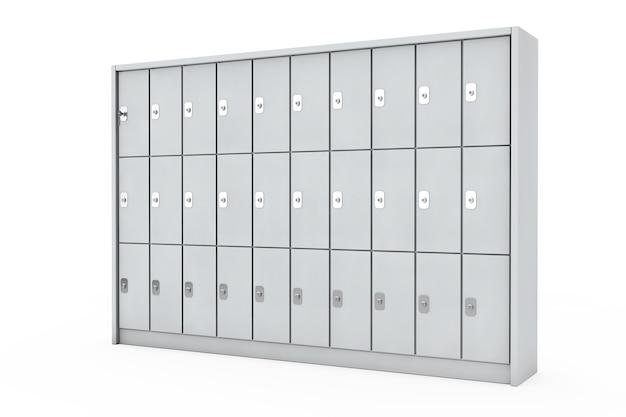 Armários de segurança de metal para bagagem em um fundo branco. renderização 3d