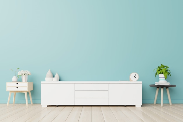 Armários para tv em uma sala, paredes azuis