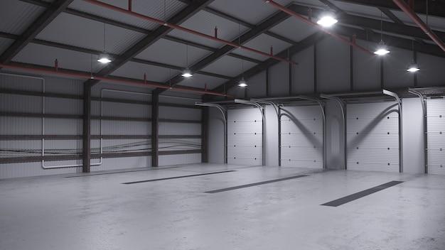 Armazém vazio com piso de concreto. ilustração 3d