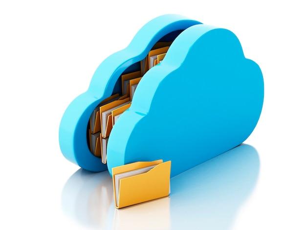 Armazenamento de arquivo 3d na nuvem no fundo branco.