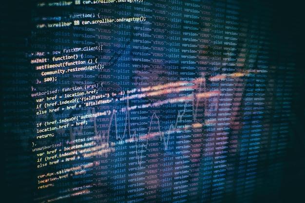 Armazenamento de big data e representação de computação em nuvem. código de programação.