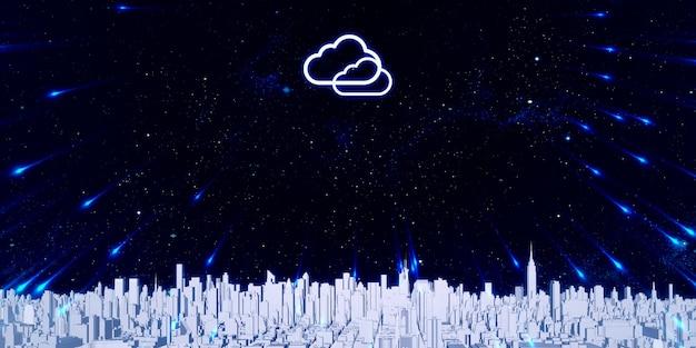 Armazenamento de dados na nuvem cidade grande repleta de edifícios altos de armazenamento na internet Foto Premium