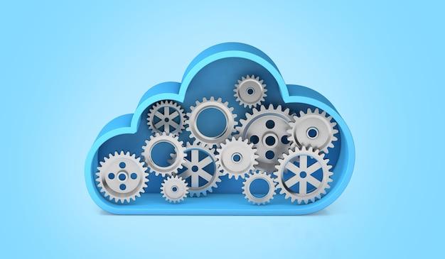 Armazenamento em nuvem com engrenagens. trabalho técnico no servidor. fundo azul. renderização 3d.