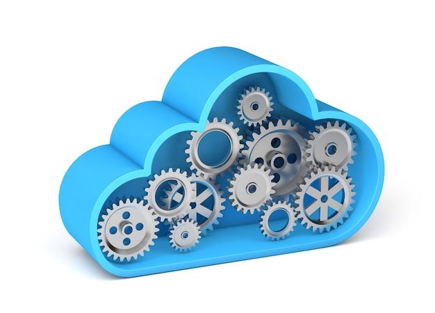 Armazenamento em nuvem com engrenagens. trabalho técnico no servidor. isolado no fundo branco. renderização 3d.
