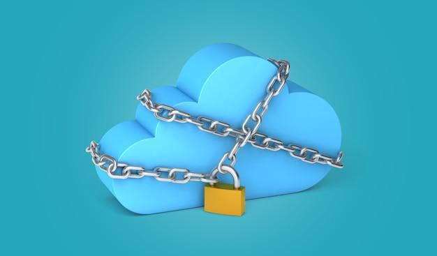 Armazenamento seguro de dados pessoais na nuvem corrente e cadeado sobre fundo verde renderização 3d