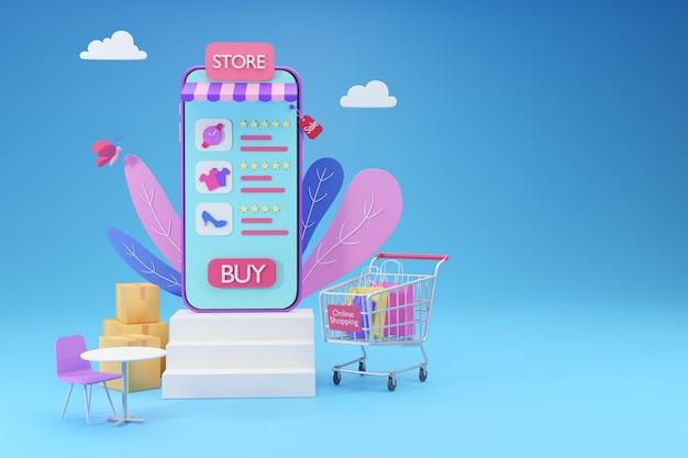 Armazene no smartphone com conceito de aplicativo de mídia social de compras online, renderização 3d
