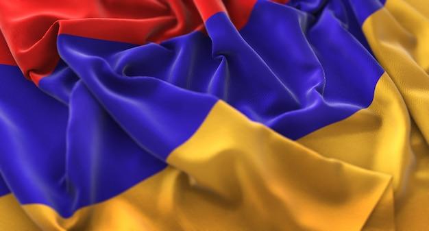 Arménia flag ruffled beautifully waving macro close-up shot