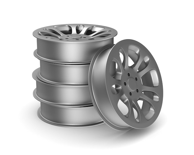 Aro da roda em fundo branco. ilustração 3d isolada