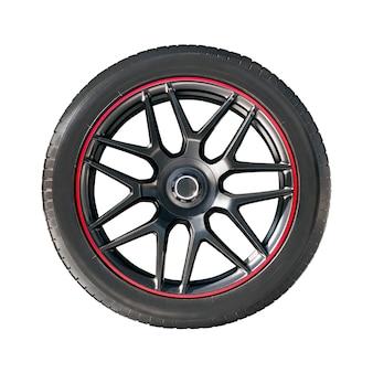 Aro da roda moderna com pneu de borracha isolado no branco.