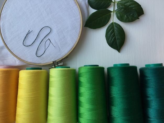 Aro de madeira, tecido e linha para bordar e costurar