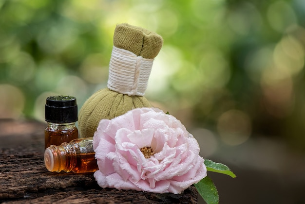 Aromaterapia com flor rosa damasco e perfume em compressa de ervas em folhas verdes bokeh natural.