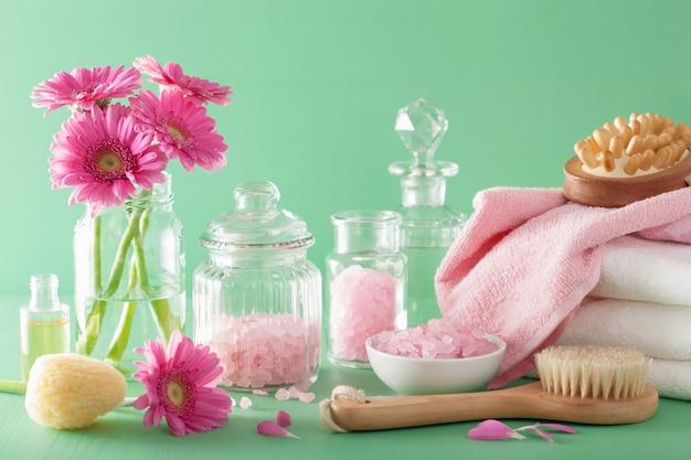 Aromaterapia de spa com escova de óleo essencial de flores gerbera