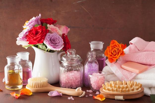 Aromaterapia de spa com sal rosa óleo essencial de flores