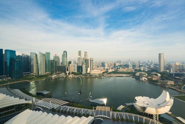 Arquitectura da cidade de singapura na manhã. paisagem, de, negócio cingapura, predios, ao redor, baía marina